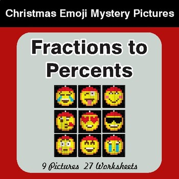 Fractions to Percents - Color-By-Number Christmas Math Mystery Pictures