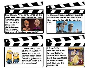 Fractions with 10 and 100 denominators Movie Themed Task Cards