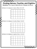 Fractions with Arrays Worksheets for Halves, Thirds, Fourths, Sixths, and Eights