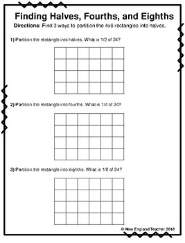 fractions with arrays worksheets for halves thirds fourths sixths