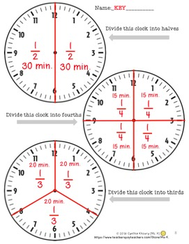 Fractions with Clocks Lesson Plans and Activities