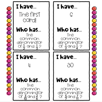 Fractions with Common Denominators I Have Who Has Game