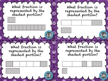 Fraction Task Cards with Fraction Bars