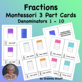 Fractions with Printable Montessori 3 Part Cards for Home
