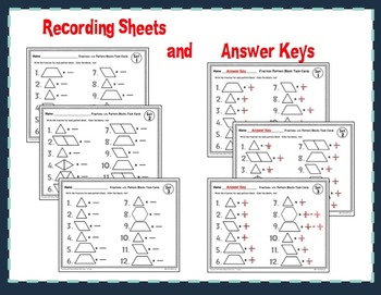 Fractions with Pattern Blocks Task Cards - 3 Levels