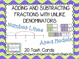 Fractions with Unlike Denominators (Area Model and Number Line) Task Cards