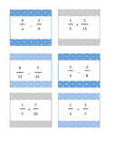 Fractions with Unlike Denominators Fraction Cards