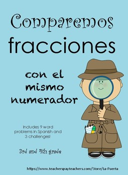 Compare Fractions Word Problems in Spanish