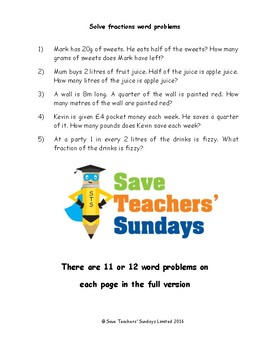 Fractions (percentages and ratio) word problems worksheets