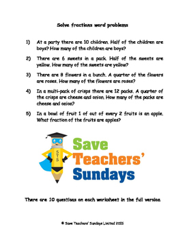 Fractions word problems lesson plans, worksheets and more.