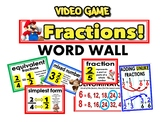 Fractions word wall/ bulletin board - video game themed