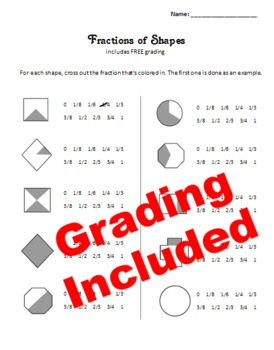 Fractions worksheet – includes FREE grading
