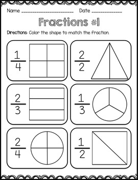 Fractions - worksheets, match, quiz