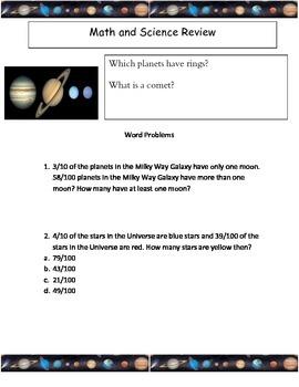 4th grade Common Core Decimals/Solar System Review