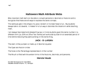 Fractions/Decimals/PerCents Halloween Attribute Pumpkins