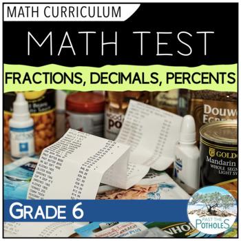 Fractions/Decimals/Percents Unit Test - Grade 6 Assessment