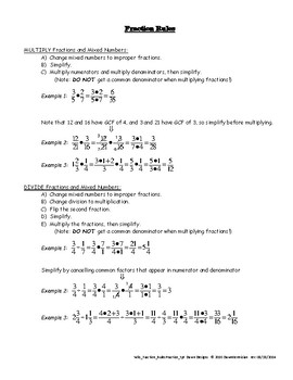Fractions/Mixed Numbers: Rules and Practice