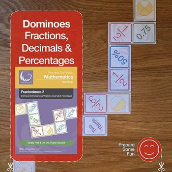 Fractominoes 2 - Dominoes for fraction decimal and percentage conversion