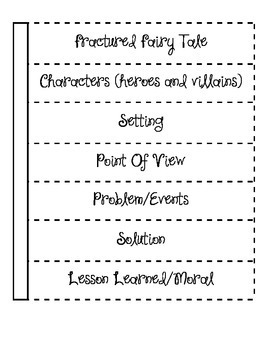Fractured Fairy Tale interactive notebook chart