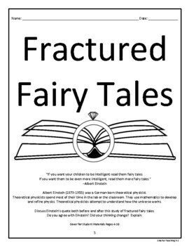 Fractured Fairy Tales Book Study And Book Report