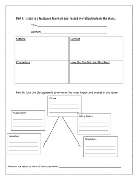 Fractured Fairy Tales Student Workbook Pages