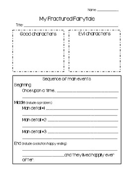Fractured Fairytale Graphic Organizer