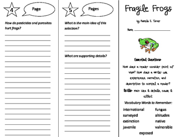 Fragile Frogs Trifold - ReadyGen 4th Grade Unit 1 Module A