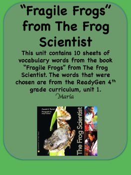 ReadyGen Fragile Frogs Word Wall / Vocabulary Cards 4th Gr
