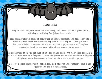 Fragment & Complete Sentence Sort Using Bat Facts
