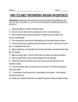 Sentence Fragment, Run-on, Complete Sentence Worksheets Teaching ...