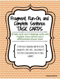 Fragment, Run-On, and Sentence Task Cards