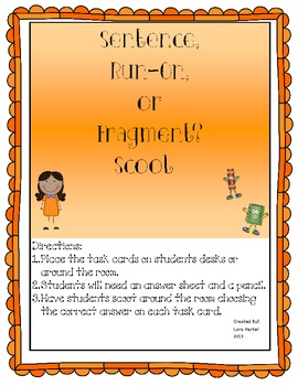 Fragment, Run On, or Complete Sentences Study Guide and Scoot Game