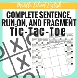 Fragment, Run-on, and Complete Sentence Tic-Tac-Toe - Midd