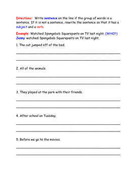 Fragment Worksheet