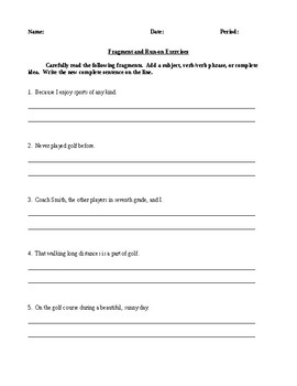 Fragment and Run-on - Informative Handout and Exercises - CCSS Aligned