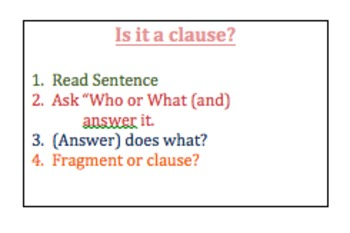 Fragments, Independent Clauses and Dependent Clauses