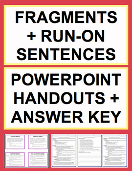 Fragments & Run Ons Activities - Worksheets, Powerpoint & Answer Key