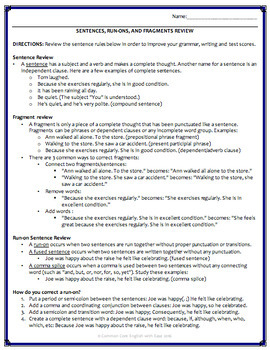 Fragments Run Ons Activities Worksheets Powerpoint Answer Key