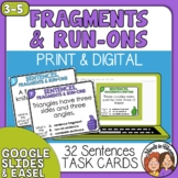Sentence Fragments and Run-Ons Task Cards w/ Boom Cards Di