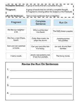 Fragments, Run Ons, and Complete Sentences