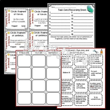Fragments, Run-Ons, or Sentences: Sort, Task Cards, & Posters