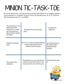 Fragments & Run on sentences - Minion Theme Tic-Task-Toe