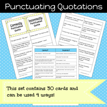 Punctuating Quotations Game/Sort Pack