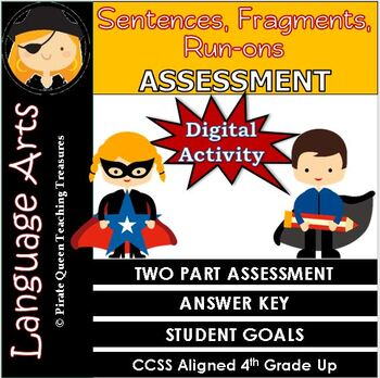 Fragments, Run-ons, & Sentences ASSESSMENT CCSS Aligned 4th Grade Up