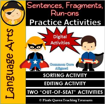 Fragments, Run-ons, & Sentences PRACTICE ACTIVITIES CCSS Aligned 4th Grade Up