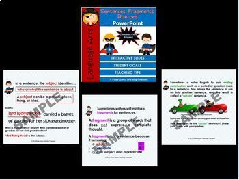 Fragments, Run-ons, & Sentences PowerPoint CCSS Aligned 4th Grade Up