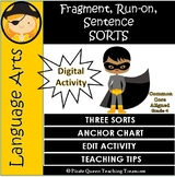 Fragments, Run-ons, & Sentences SORT ACTIVITY/ CCSS 4th Gr