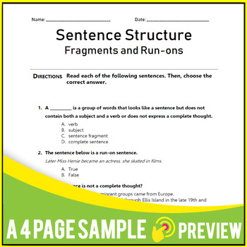 Fragments & Run-ons, Types of Sentences, Phrases &Clauses. Gr 9-10 | 100 MCQs