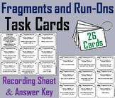 Fragments and Run-Ons Task Cards Activity 3rd 4th 5th Grade