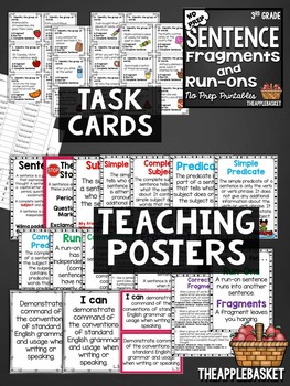 Fragments and Run-Ons Task Cards and No Prep Printables